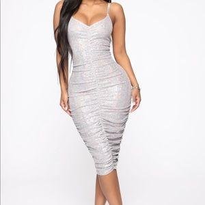 Metallic Silver Midi Dress - BRAND NEW